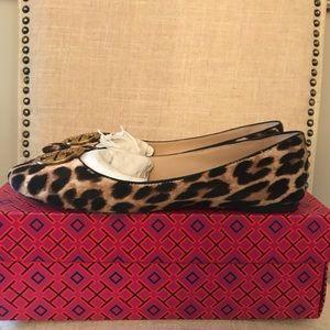 Tory Burch Chelsea Flat in Leopard Calf Hair 8.5